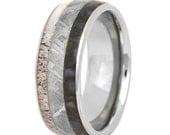 Dinosaur Bone, Meteorite, and Antler Ring, Dinosaur Bone Wedding Band for Men or Women, Titanium Band