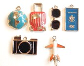 6 Travel Themed Charms Gold-tone Color Epoxy