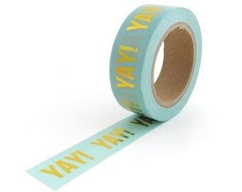 Washi Tape - Studio Stationery - YAY! - 15mm x 10metres - Gold Foil Masking Tape - Blue Washi Tape - Washi Tape Australia