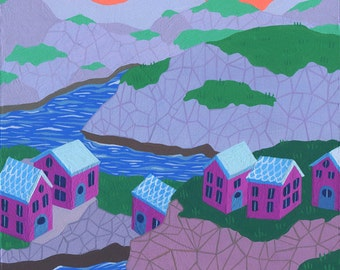 Original Painting - Pink Houses at Dusk