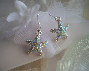Starfish Earrings Wedding Bride Beach Nautical Earrings Aurora Borealis Sterling Silver French Ear Wire Dangle Earring