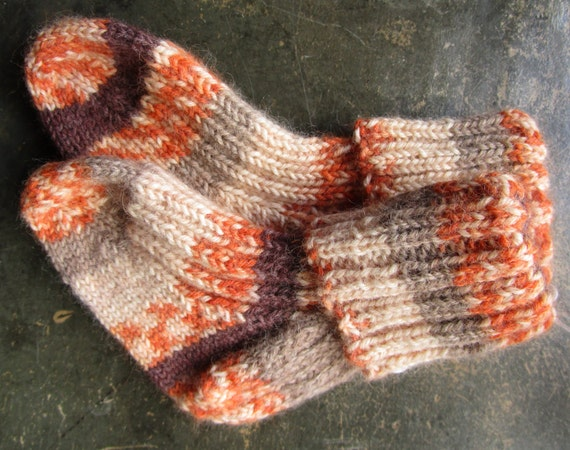 Toddler Socks - hand knit angora and wool blend - Woodsy Orange, brown, tan OOAK - Clearance