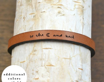to the moon and back - adjustable leather bracelet  (additional colors available)