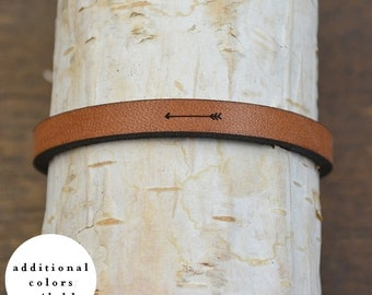 arrow - adjustable leather bracelet  (additional colors available)