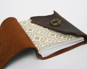 Small leather diary with twist latch and recycled sketch paper