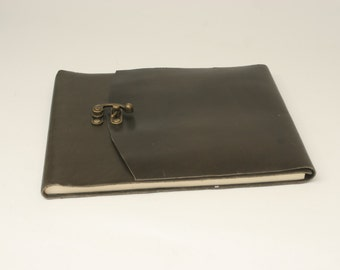 Leather Wedding Guest Book in Modern Gray- Lined Pages