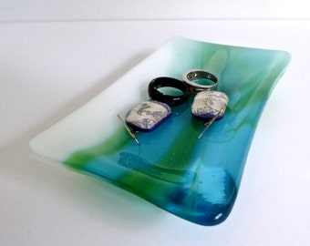 Fused Glass Dish in Streaky Blue and Green