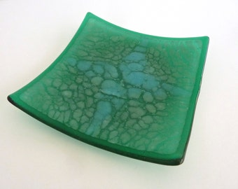 Fused Glass Crackle Plate in Emerald and Aqua