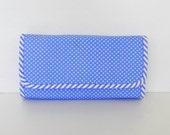Sale - Blue Polka Dots Wallet, Pouch, Clutch, Cards Holder, Checkbook Bag - SANDY