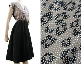 Vintage 80s Dress Leopard Silver Black Surplice Bust Full Skirt Dance Dress Disco M L
