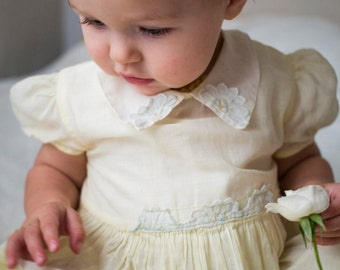 1950's- 1960's Nannette Originals Pale Yellow Sheer Baby Dress Size 2 Estimated 12 months