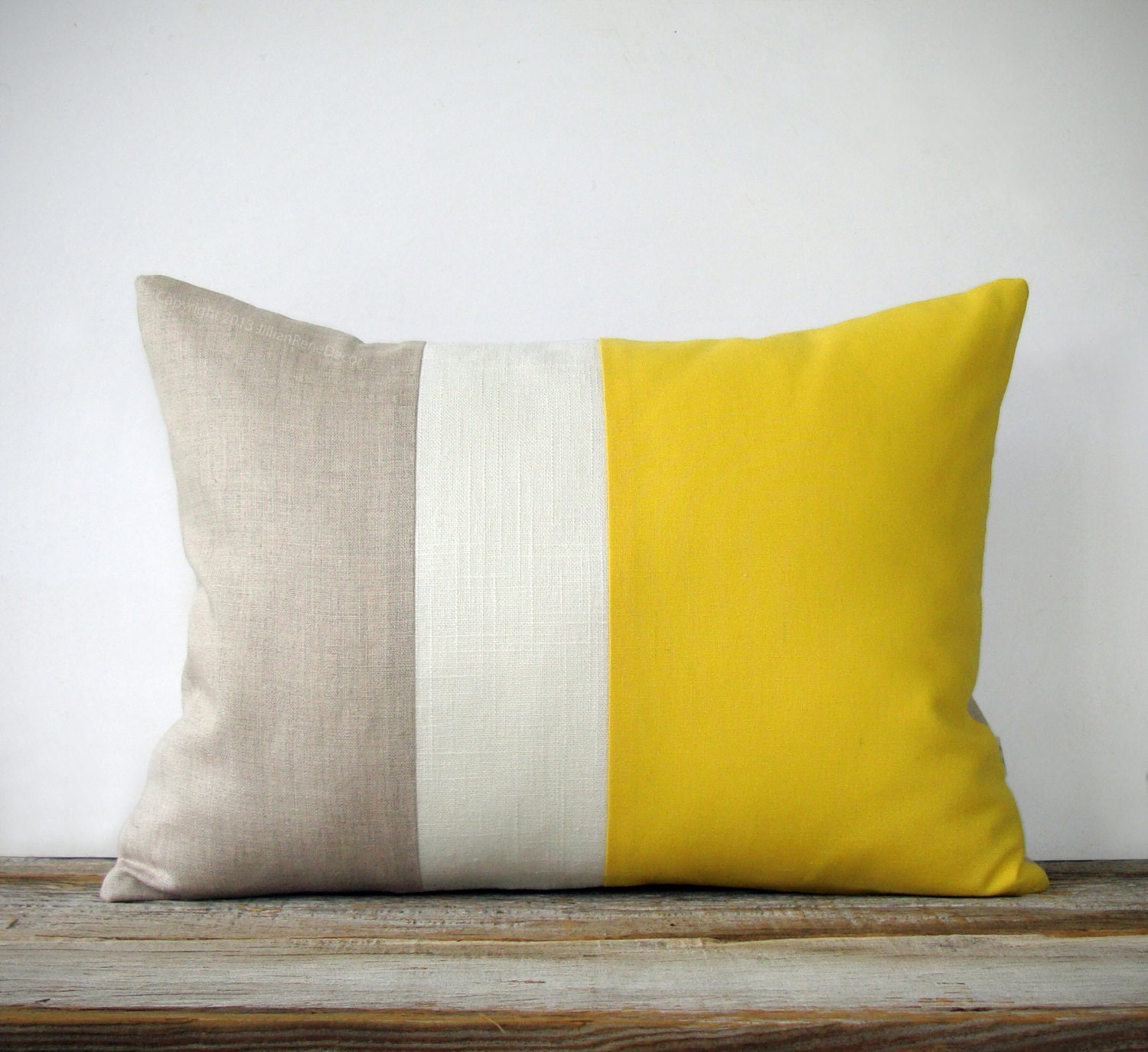 Lemon Linen Color Block Cushion Cover with Cream Stripe by