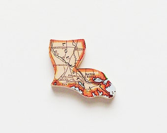 1915 Louisiana Brooch - Pin / Unique Wearable History Gift Idea / Upcycled Antique Wood Jewelry / Timeless Gift Under 50