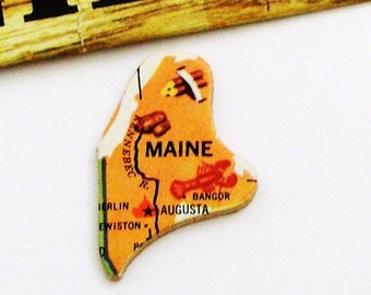 Maine Brooch - Pin / Unique Wearable History Gift Idea / Upcycled Vintage 1961 Wood Puzzle Piece / Timeless Gift Under 20