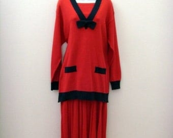Vintage Nautical Tunic & Pleated Skirt / 1980s Red - Navy Blue Cotton Sweater Knit / Size MED Two Piece Set / Unique Gift Under 75