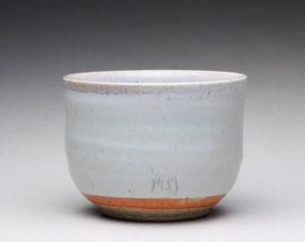 handmade chawan, matcha bowl, pottery tea bowl with white wood ash glazes