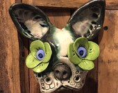 Boston Terrier mask, day of the dead, wall hanging