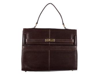 VINTAGE Brown Leather TOTE Handbag Top Handle Bag Satchel Purse MP
