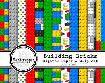 Digital Scrapbook Paper Building Bricks Bold Colors 12 Patterns 5 Solids 12 x 12 Instant Download PLUS Clipart