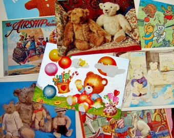 Ten Vintage Postcards of Teddy Bears - Photos & Illustrations of Bears and Toys