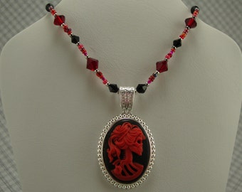 Red and black zombie maiden necklace