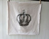 RESERVED FOR JENEE D Crown pillow vintage grainsack feedsack cotton pillow sham Cream grey French Farmhouse Cottage Chic