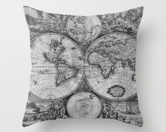 Old World Map Throw Pillow, Vintage Map Outdoor Pillow, World Map Patio Decorative Pillow, Surf, Elegant, Office Decor,Black White,Greyscale