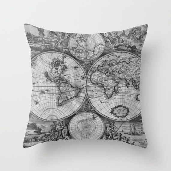 Old World Map Throw Pillow, Vintage Map Pillow, World Map Decorative Pillow, Surf, Elegant, Office Decor, Black White,Greyscale,Dorm,Library
