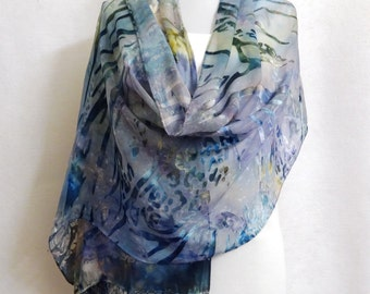 Hand-dyed Silk Shawl - Scarf - Silk Rayon Shawl, Silk Rayon Scarf - Blue Silk Shawl, Silk Shawl, Silk Scarf, Rayon Shawl - #SSH-16-9