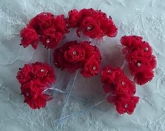 36 Chic RED Organza Ribbon Wired Rose Flower w rhinestone Christmas Holiday Bridal Wedding Favor Bow Hair Accessory Applique