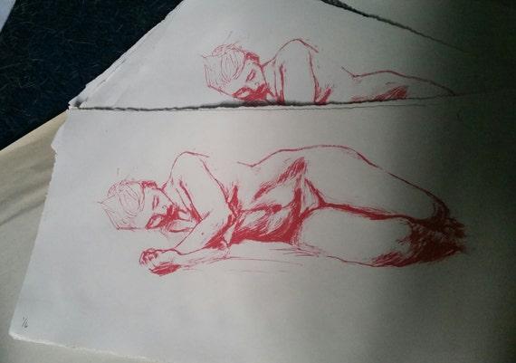 "Sleep -- Original Photo Litho Print (""mature"" for nude figure)"