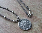 Sterling Silver Beaded Waxed Linen Necklace, Floral Pendant Necklace, Hand Braided Linen