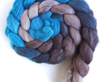 Merino/ Silk Roving (Top) - Handpainted Spinning or Felting Fiber, Lonely, Crazy, and Blue