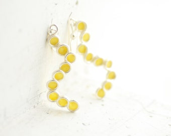 Sunshine Yellow Bubble Dangle Drop Earrings Sterling Silver, 1st Anniversary Gift Paper Jewelry Circle Earrings Best Friend Get Well Unique