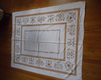 "Shabby Vintage Cotton Penn Dutch Orange/tan/white/black/olive colors tablecloth Woman/man/flowers/birds/Hearts 52"" X 62"""