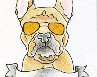 Personalized French Bulldog Miniature Drawing, ACEO size, Frenchie Dog ACEO, dog drawing, dog artwork, Dog Lover Gift, Dog in Suglasses