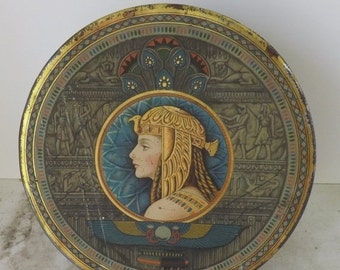 Valentines Day Sale Art Deco tin Egyptian Revival tin Cleopatra tin round Sunshine fruitcake tin Loose Wiles Biscuit Company biscuit tin