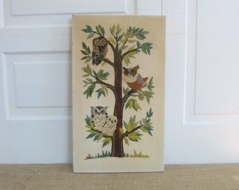 Vintage Owl Needlework Needlepoint Embroidery Bird Brown Green  Child Art Nursery Decor