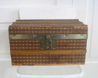 Vintage Doll Case Trunk Brown Plaid Storage Primitive Wood