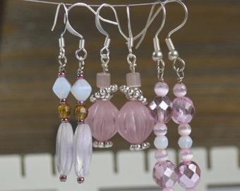 Pink Earrings - 3 Pairs