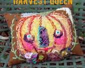 Harvest Queen Pumpkin Art Pillow Ready to Ship