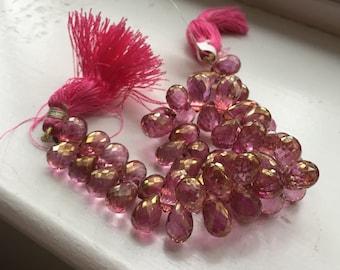 MysticPink Quartz Briolette Beads, Full Teardrop, 10 mm, Package of 10