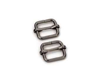 """10pcs - 3/8"""" Adjustable Slide Buckle - Black Nickel - Free Shipping (SLIDE BUCKLE SBK-103)"""