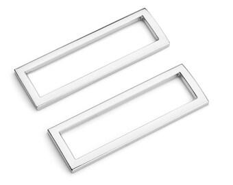 "30pcs - 2"" (50mm) Flat Zinc Square Ring - Nickel - (FSR-120) - Free Shipping"