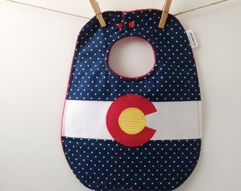 Colorado Baby Gift - Colorado Flag - Big Baby Bib with Snaps - Denver Baby Gift - Rocky Mountain Baby Shower - Toddler Sized Bib with Snaps