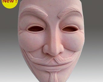 Guy Fawkes Mask - Detail of high relief sculpture - Silicone Soap/plaster/clay Mold - buy from original designer and maker