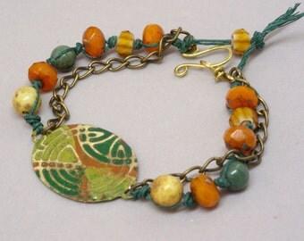 Celtic Circle Bracelet, Geometric Orange Bracelet, Boho Green Bracelet, Irish Bracelet, Unique Orange and Green Jewelry, Bohemian Jewelry