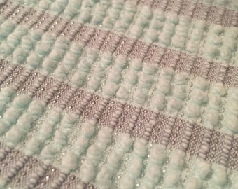 Aqua and Taupe Vintage Chenille  Sampler