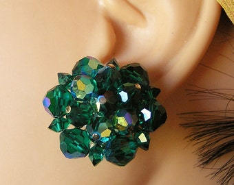Vintage Aurora Borealis Mallard Green Beaded Clip On Earrings. They are an Inch in Diameter and Have Secure Clips. Very Good Condition (D2)