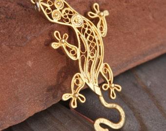 filigree lizard pendant gold plated